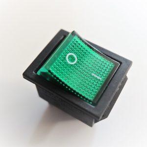 Interruttore a Bilancere 16A - 250 v / 20A -125v Per Frigoriferi e centraline o pannelli di comando, luminoso verde