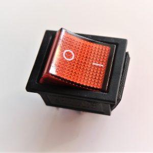 Interruttore a Bilancere 16A - 250 v / 20A -125v Per Frigoriferi e centraline o pannelli di comando, luminoso rosso